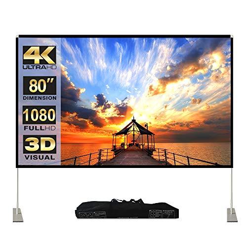 Projektion Leinwand mit Stand 80 Zoll HD 4K Outdoor Indoor Projector Screen Schnelles Falten Tragbare Filmleinwand 16: 9 Full-Set-Tasche für Heimkino, Camping und Freizeitveranstaltungen...