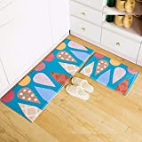 XINQING in der Halle der fußabtreter Matte fußabtreter Haushalt küche Bad Schlafzimmer pad badematte 45 * 120 cm,Zwei stücke von Kleidung: blau