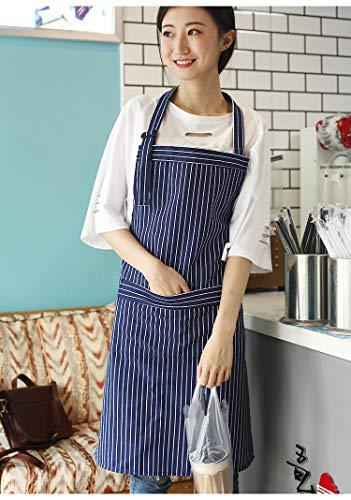 Uhrtimee grembiule da cucina in cotone con strisce minimaliste, traspirante, stile nordico, per cuocere in modo creativo, baumwollblauer streifen, baumwollblauer streifen