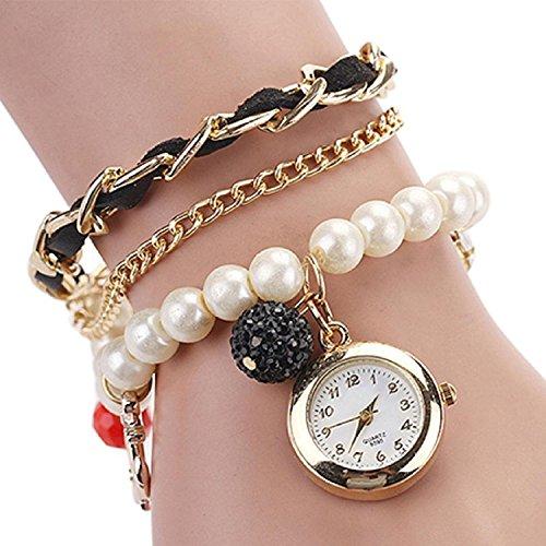 Ashiana stylish multi layer charm pearl and leather bracelet style watch - black