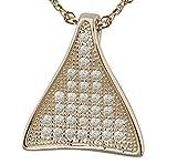 Epinki 925 Sterling Silber Damen Halskette, Dreieck Form Anhänger Statementkette Poliert Silberkette Rose Gold 1.6x1.41 CM mit Zirkonia