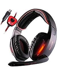 SADES SA 902 7.1 de sonido envolvente estéreo Pro USB PC Gaming Auriculares Cinta de cabeza de los auriculares con…
