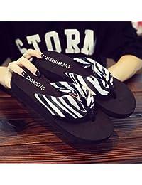 Shukun Chancletas del dedo del pie Zapatos Bohemios de Playa Mujer Chanclas de Verano Moda Antideslizante