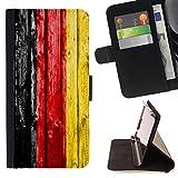 FJCases Deutschland Deutscher Holzmuster Flagge Tasche Brieftasche Hülle Schale Standfunktion Schutzhülle für Samsung Galaxy S7 Active