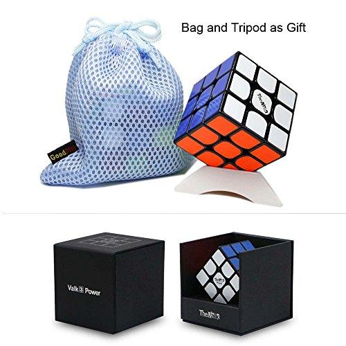 VALK 3 Power Valk3 Power cubo magico 3x3x3 cubo puzzle magico + un supporto cubo e un sacchetto cubo (Nero)