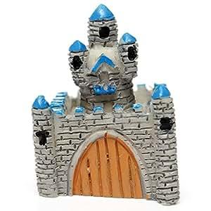 KINGSO Miniatur Mini Schloss DIY Hundespielzeug Blumentopf-Aufhänger Micro Querformat Garten Dekoration, Grau