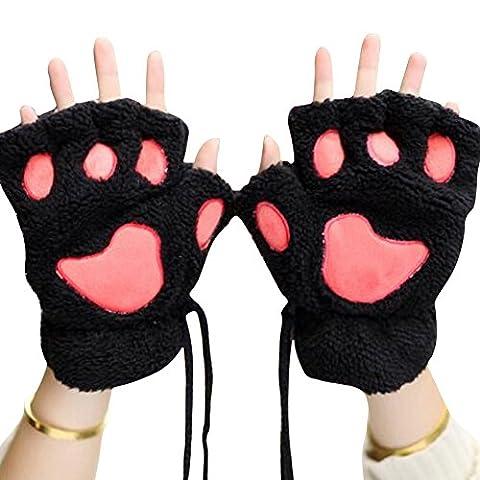 XY Fancy Damen Mädchen süße Katze Kralle Bärenkralle fingerlose Handschuhe Winter Halbfingerhandschuhe, Schwarz