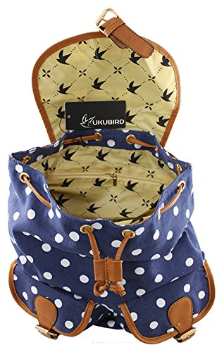 Kukubird POLKA DOT Backpack SPOTTY Rucksack School Bag (1 DOUBLE POCKET (NAVY))