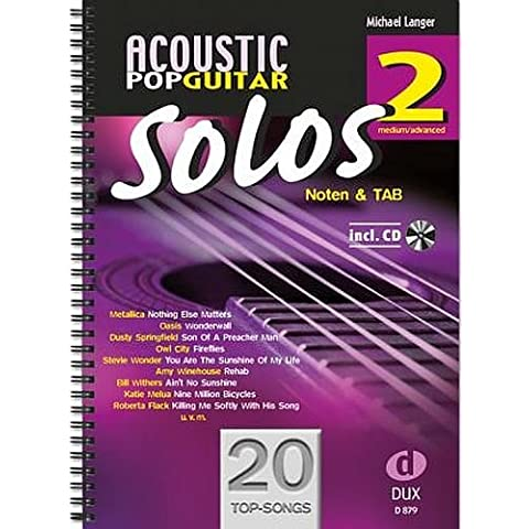 Acoustic Pop Guitar Solos Band 2con CD–-Altri 20topsongs arrangiate per chitarra in banconote e Tab–Output legame in anello (banconote) - Acoustic Solo Tabs