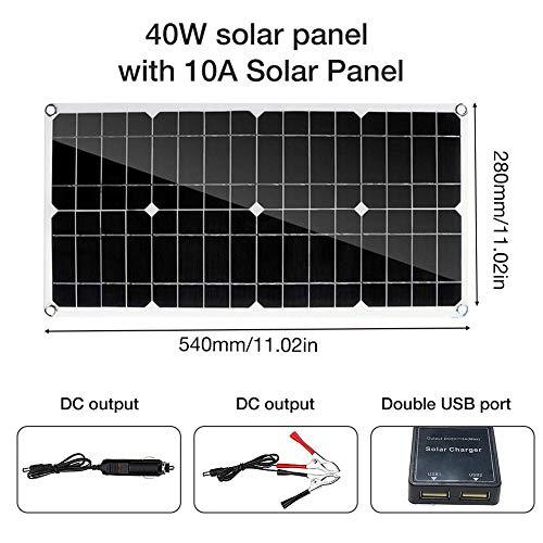 EZIZB Polykristallin Solarpanels 40W doppelte USB Schnittstelle mit 10A Solarpanel für Garten Camping Caravan Wohnmobil Gartenhäuse Boot