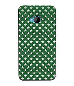 FUSON Designer Back Case Cover for HTC M7 :: HTC One M7 (Small Lot Of Stars Green Back Shining Glossy)