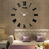 Fancy Decor(TM)Balck Time Letters Roman Numbers Luxury DIY Frameless Quartz 3D Large Big Mirror Effect Wall Clock Oversized Clock Watches Living Room Décor Wall Sticker Decal Home Office Creative Decoration Art