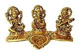 RCI Handicrafts White Metal Laxmi Ganesh Saraswati Gold Plated Showpiece Statute with Oil Lamp Diya Pooja Article (Gold, 11 cm X 21 cm X 12 cm)
