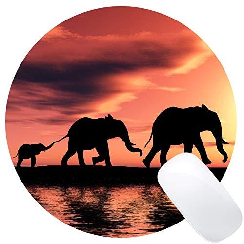 Muccum Alfombrilla de ratón redonda para juegos, diseño personalizado, familia de elefantes...