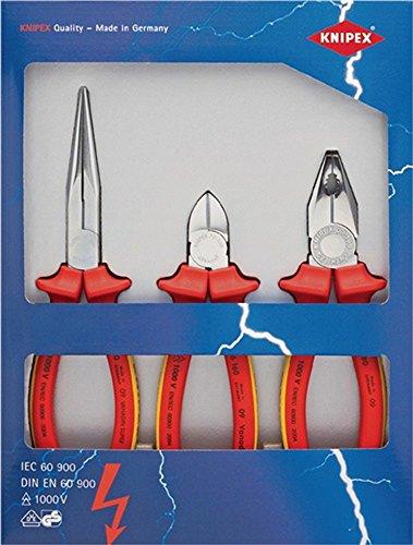 Sicherheitspaket 3-teilig VDE Kombi-, Flachrundzange mit Schneide,Seitenschneider