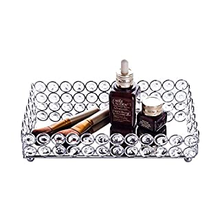 Feyarl Cosmetic Tray with Crystal Beads Rectangle Jewelry and  Make up Organiser Tray (Silver)