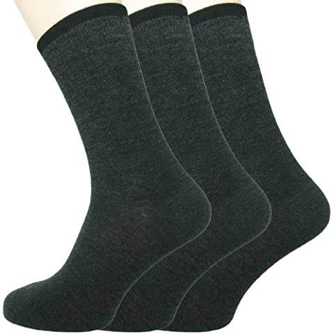 Loonysocks, 3 paia di calzini da uomo in morbidissima lana Ascona Merino, grigie (39-42 EU)