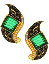Anuradha Art Golden Colour Styled With Green Colour Stylish Ear Studs Earrings For Women/Girls