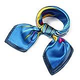 Fête des Mères Foulard Femme élégant Carré 60*60cm en Satin (Bleu foncé)