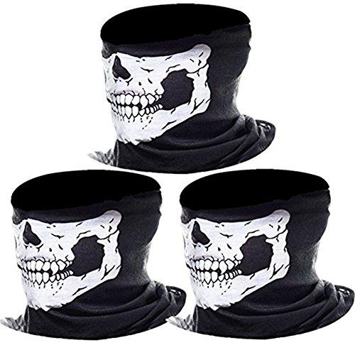Ruiying Paintball Maske Motorrad Sturmmaske 3er Pack Totenkopf Maske für Halloween Gesichtsmaske Skeleton Schädel Bandana für Radfahren Kart Balaclava Karneval Skifahren Schwarz (Weiß)