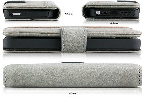 Blumax Apple iPhone 5/5s/SE Ultra-Slim Echtleder Flip-Case im Vintage-Look Vintage Grau