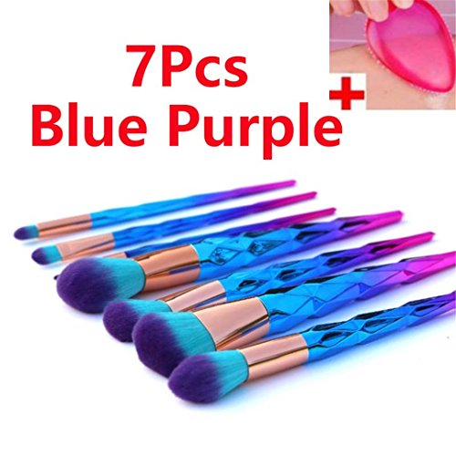 4/7/10/12 Stk Diamond Unicorn Makeup Brushes Eyeshadow Powder Foundation Kosmetik Pinsel Set mit 1 Pc Silikon Schwamm 7 Stück Blau Lila