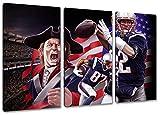 New England Football, Fan Artikel Leinwandbild 3Teiler