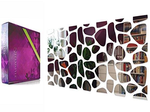 Moderner dekorativer Acrylspiegel ROCKS, DIY, 100 x 50 cm, groß, einzigartiges Design, unzerbrechlich, Wohnzimmer, Schlafzimmer, Spiegel ausgefallene Dekoration