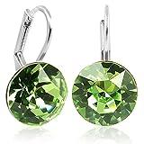 Ohrringe mit Kristallen von Swarovski® für Damen Viele Farben Silber NOBEL SCHMUCK (Peridot)