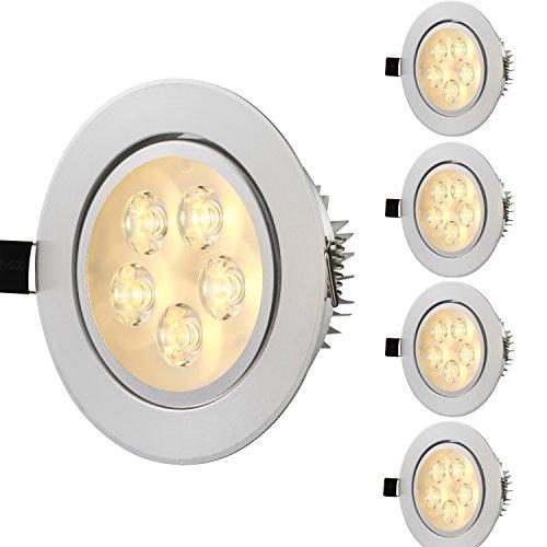 Topmo 5er 5W Warmweiß LED Spot Einbauleuchte Deckenbeleuchtung Einbaustrahler Set Decken Leuchte Lampe Bohrung 85mm(warmweiß)