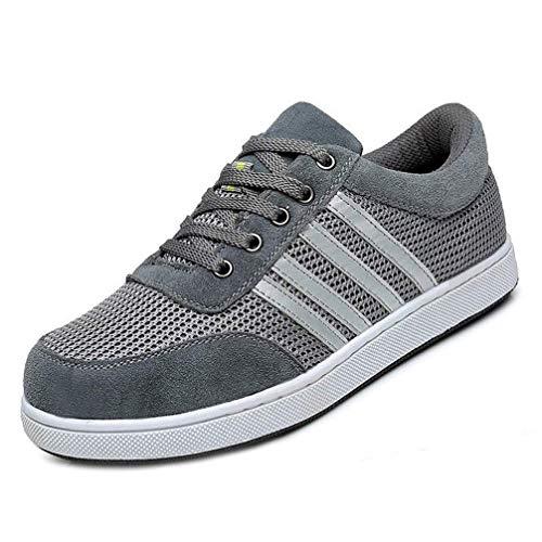 LXHK Leicht Arbeitsschuhe, Sicherheitsschuhe mit Stahlkappe luftdurchlässige Anti-Smashing Schuhe Industrie und Handwerk Sneaker,Grau,EU42