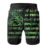 Personality Beach Pants Shorts Weed USA Flag Men's Summer Beach Quick-Dry Surf Swim Trunks Boardshorts Cargo Pants