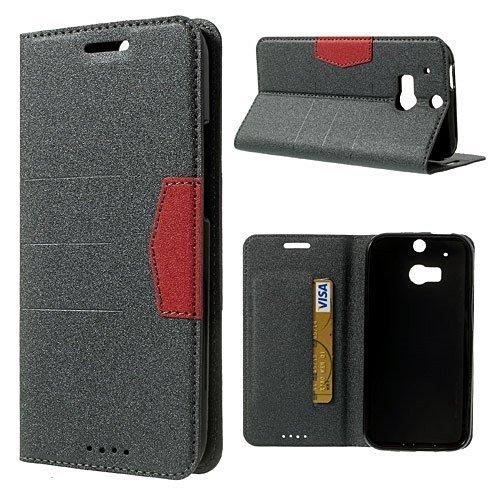 Handy-Schutzhülle für HTC One-1M8, seidiges Gefühl, hochwertig, Klappetui, Dunkelgrau, inklusive Displayschutzfolie