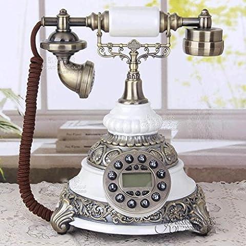 25,1 * 26 * 28,8 cm creativo Pearl White resina telefono vecchio stile classico complesso, antico telefono fisso alle ornamenti decorazioni per la casa