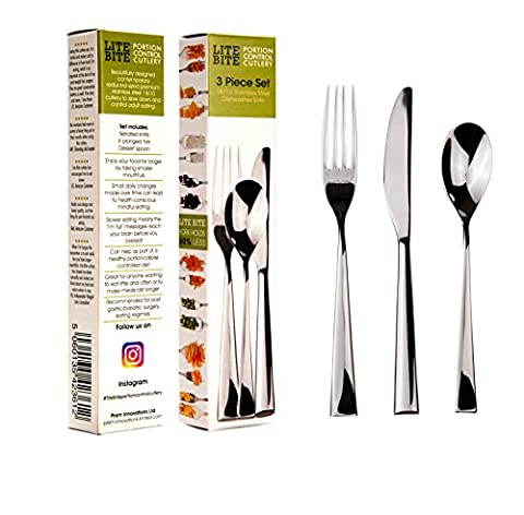 PORTION CONTROL CUTLERY Reduced-size 3PC SET. Use with DIET PLATES, DIVIDERS, RINGS, ROUNDS & CONTAINERS to eat SMALLER MOUTHFULS. Use as part of a lean & HEALTHY slimming WEIGHT LOSS programme. Control your food intake precisely WITHOUT COUNTING CALORIES, watch your body transform as you join the world of mindful eating. Recommended for post gastric bariatric surgery. Make each meal last 15 mins. Premium contemporary 18/10 stainless steel 1 serrated KNIFE, 1 four pronged FORK & 1 dessert
