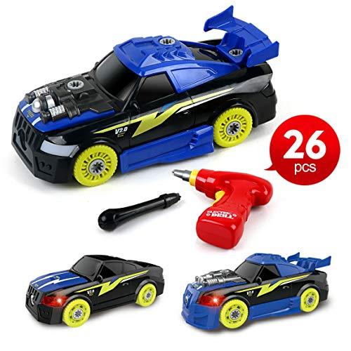 BeebeeRun Montage Spielzeug Autos, 26 Stück 2 In 1 DIY Kinder Gebäude Spielzeug, Elektrisches Rennwagen Set mit Lichtern und Musik und Drill-Sound für Kinder