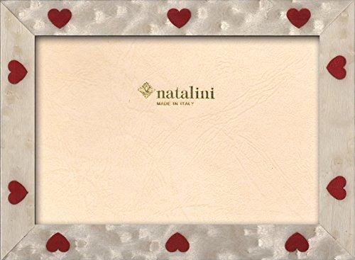 Natalini cuori bianchi, cornice portafoto legno/vetro bianco rosso, legno, bianco rosso, 21x16x1,5 cm