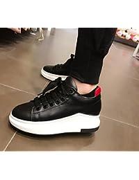 2017 sandalias de cuero pequeños blancos gruesos zapatos deportivos individuales inferiores salvajes zapatos planos zapatos casuales , black , 5.5