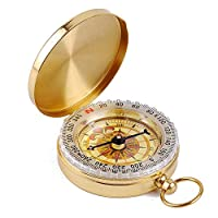 Hinyyrin Brass Compass retro clamshell compass boating compass camping compass outdoor folding compass waterproof Luminous Classic Pocket Style Copper Clamshell Compass Waterproof Luminous Compass