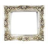 Großer Bilderrahmen Barock 75x85 / 50x60 cm Silber (Antik) Im Retro-Vintage look. In Handarbeit hergestellt. (Foto-Rahmen) Idealer Gemälde-Rahmen für Ausstellungen STAR-LINE®