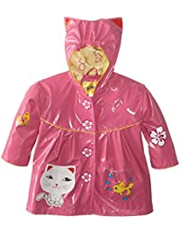 Kidorable Pink Lucky Cat PU All-Weather Raincoat for Girls w/Fun Ears, Flowers, Fishbowl Pocket