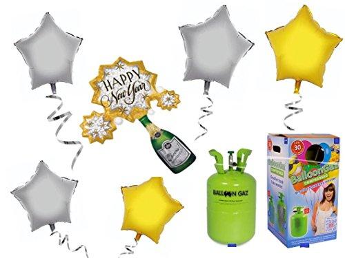 Helium-Ballongas-Set-Happy-New-Year-Silvester-mit-Folienballons-Party-Deko-Set-Silvester-Ballons-Komplettset