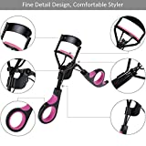 Rovtop Eyelash Curler Black Handle Cosmetic Makeup Tools With 5 Replacement Silicone Refill Pads