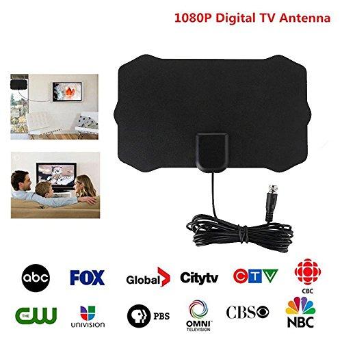 Teepao Antenne TV innen Leistungsstarke TNT HD, 31080P Antenne TV Antenne Empfang Signal HD Digital UHF/VHF/HDTV Innen Leistungsstarke ATSC Standard Ultra flache/Fine (schwarz)