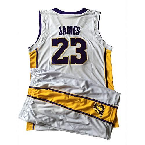 BUY-TO James Trikot Basketballuniform für Kinder Kid Anzug T-Shirt Lakers Shorts Geeignet für Kinder im Alter von 8-15 Jahren Jungen Mädchen,White,XS(100-120CM)