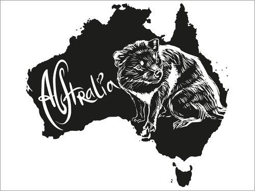 Holzbild 80 x 60 cm: Australien mit tasmanischem Teufel von Editors Choice (Map-tasmanien)