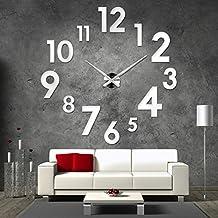 Orologio gigante da parete, 3D, in acrilico, color argento, decorazione da parete per salotto