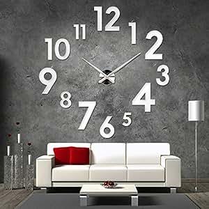 xxl 3d silberne riesen designer wanduhr wohnzimmer dekoration wandtatoo aus acryl. Black Bedroom Furniture Sets. Home Design Ideas