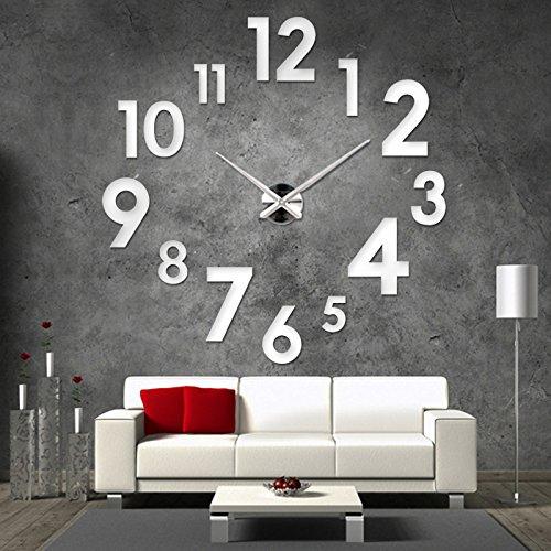 XXL 3D Silberne Riesen Designer Wanduhr Wohnzimmer Dekoration Wandtatoo aus Acryl
