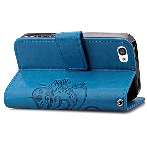 4S Hülle Case,iPhone 4S Hülle Case,Gift_Source [Wrist Strap] [Card Slot] Luxury Magnetic PU Leder Brieftasche Hülle Case Folio Flip Hülle Case Cover Embossed Tree and Leaf Design für Apple iPhone 4/4S E01-02-Blue160627